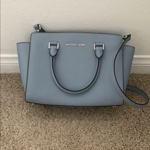 Michael Kors baby blue Selma purse